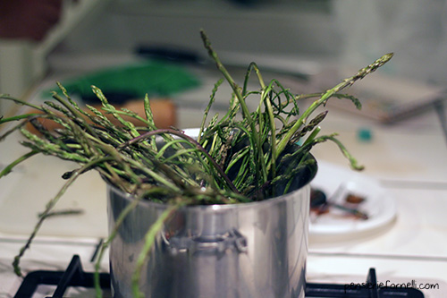 Nodini con astice e asparagi